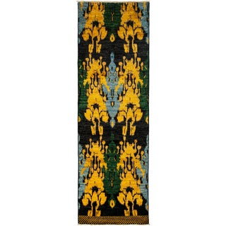 """Contemporary Ikat Hand-Knotted Rug - 3' X 9' 7"""""""
