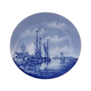 Antique Nautical Blue and White Delft Plate
