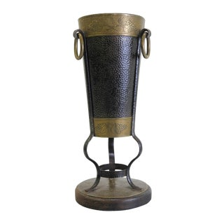 Ornate Hand Hammered Brass Umbrella Stand