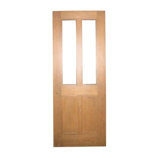 Antique Two Panel Oak Door With Two Panes