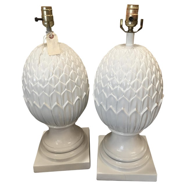 White Palm Beach Pineapple Table Lamps - A Pair - Image 1 of 5