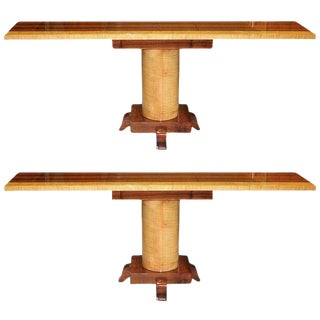 Long Pair Of French Art Deco Palisander / sycamore Console Tables Circa 1940s.