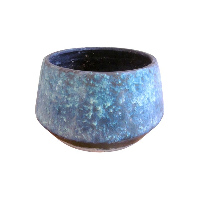 Mid-Century Blue Fat Lava Glaze Drip Planter Pot - Image 1 of 10
