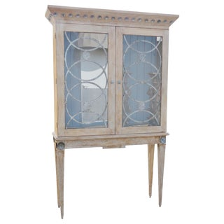 Deco Style Distressed Painted Display Cabinet