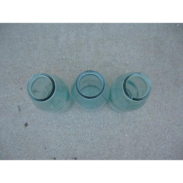 Image of Vintage French Turquoise Milk Bottles - Set of 3