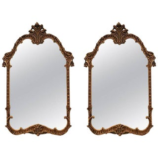 Pair of Italian Gilt and Distressed Decorated Italian Wooden Mirrors