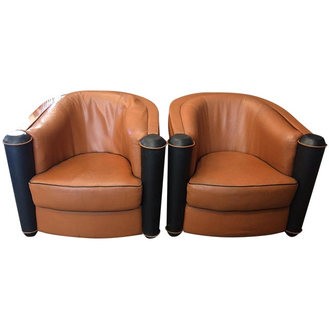 Butterscotch Leather Deco Chairs - Pair - Image 1 of 5