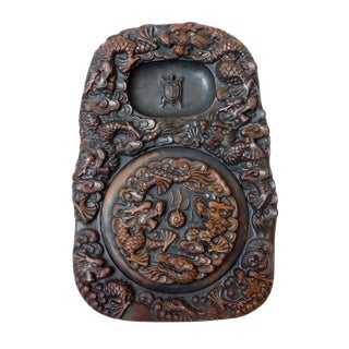 Chinese Hand Carved Dragon & Turtle Dragon Cover Calligraphic Ink Stone Pad
