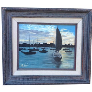 Vintage Painting of Sailboats