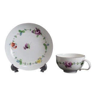 Meissen Marcolini Hand Painted Porcelain Cup & Saucer