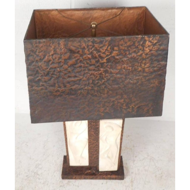 Unique Mid-Century Modern Textured Copper Table Lamp - Image 4 of 11
