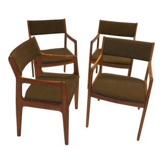 Danish Modern D-Scan Teak Captains Dining Chairs - Set of 4