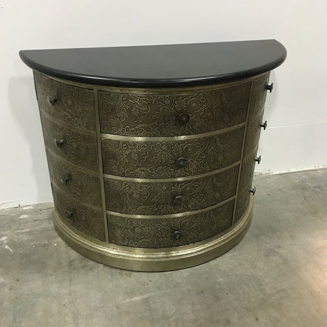 Demi-Lune Silver Metal Chest Side Table - Image 2 of 6