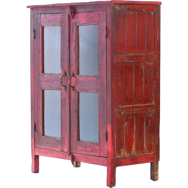 Red Vintage Wood Cabinet - Image 3 of 4