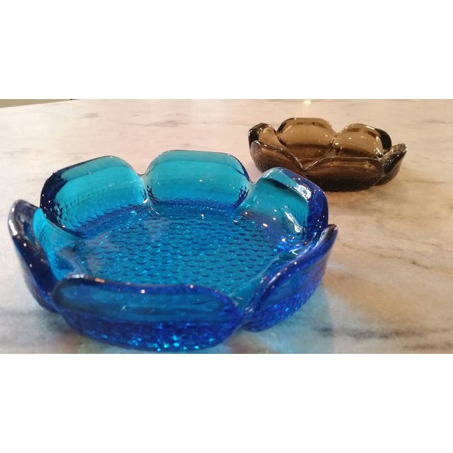 Image of Mid-Century Modern Blue & Amber Trinket Catchers - A Pair
