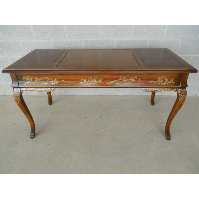 Drexel Et Cetera Chinoiserie Tooled Leather Top Writing Desk - Image 9 of 11