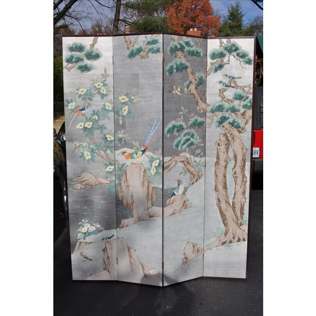 Image of Vintage Chinoiserie Hand Painted Folding Screen