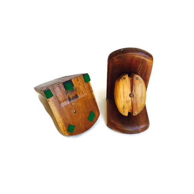 Mid-Century Wood Pulley Bookends - Pair - Image 6 of 7