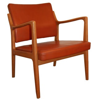 Karl-Erik Ekselius Leather & Teak Arm Chair