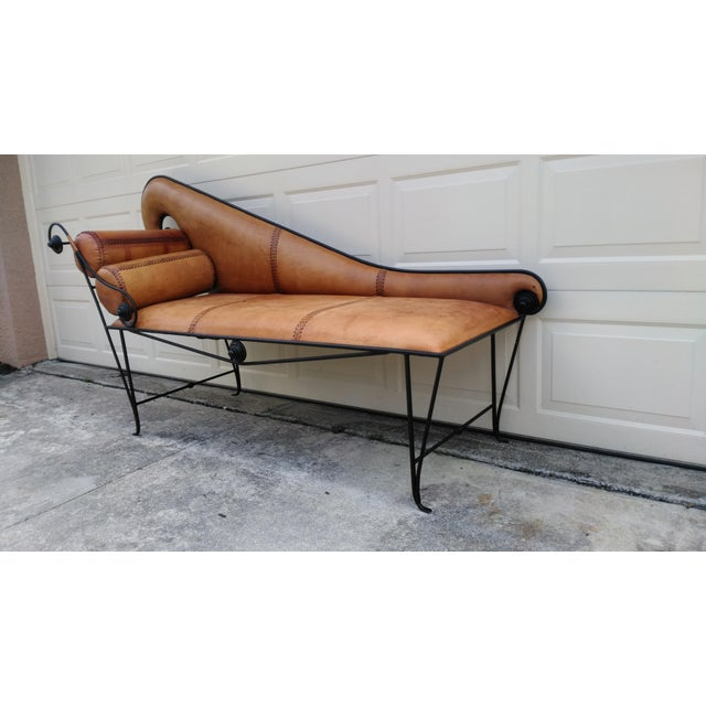 Image of Whimsical Wrought Iron & Leather Daybed