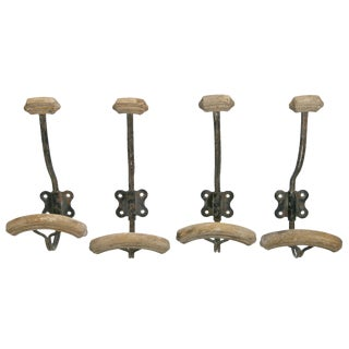 Vintage French Metal Coat Hooks- Set of 4