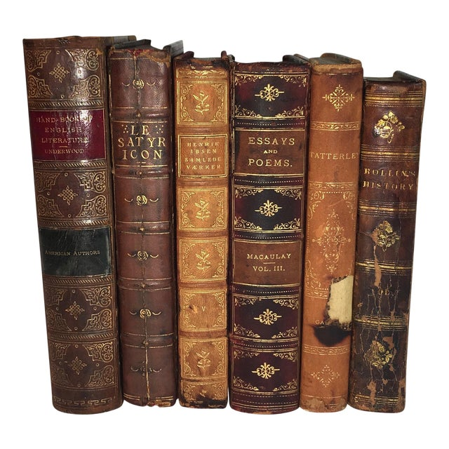 Distressed Antique Leather Display Books - Set of 6 - Image 1 of 6
