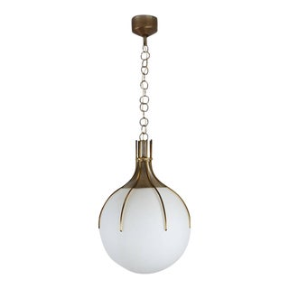 Large Brass and Glass Italian Pendant