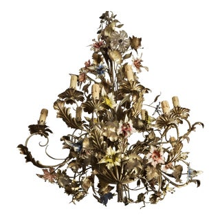 French Large All Tole Floral Twelve Light Chandelier
