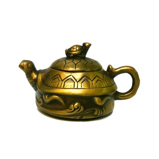 Chinese Metal Bronze Color Accent Teapot Display