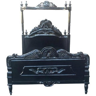 French Louis XV Black Canopy Queen Bed