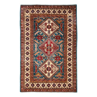 """New Traditional Hand Knotted Area Rug - 4'2"""" x 6'4"""""""
