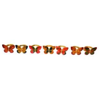 Vintage Cloisonné Butterfly Napkin Holders - S/7
