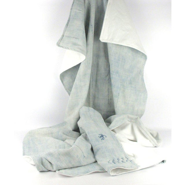 Light Blue Mudcloth Throw Blanket - Image 5 of 5