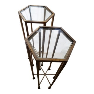 Hexagon Glass Topped Gold Iron Side Tables - A Pair
