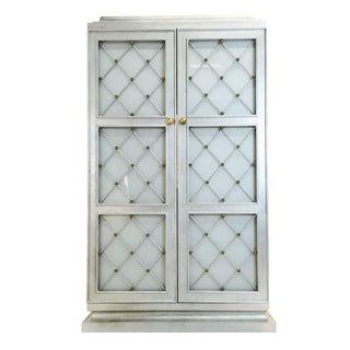 Hollywood Regency Silver Leaf Storage Cabinet