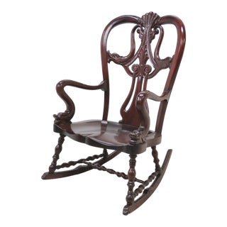 Victorian Figural Dolphin Carved Mahogany Rocker