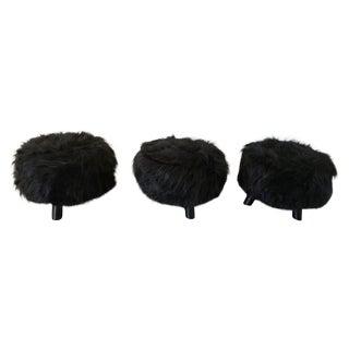 Black Faux Flokati Ottomans - Set of 3