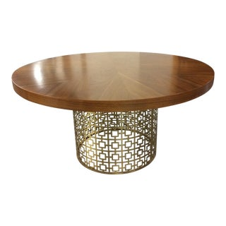 Jonathan Adler Walnut Table With Brass Base