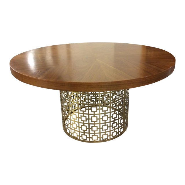 Jonathan Adler Walnut Table With Brass Base - Image 1 of 5