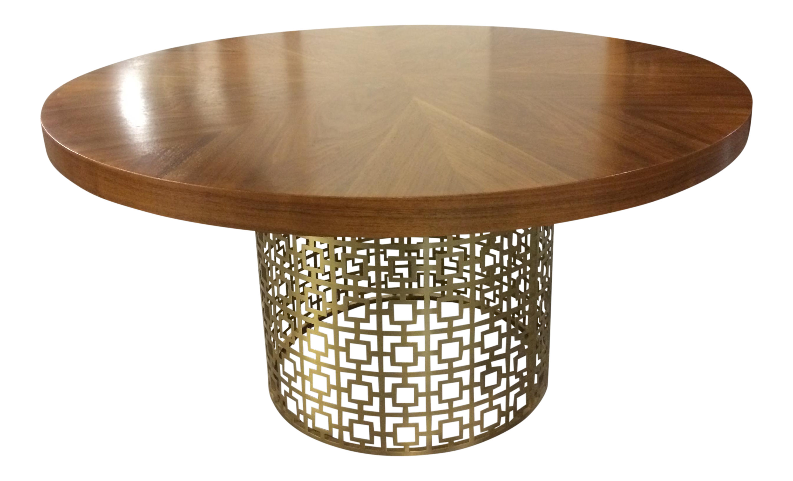 Jonathan Adler Walnut Table With Brass Base
