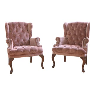 Tufted Dusty Rose Velvet Wingback Lounge Chairs - a Pair