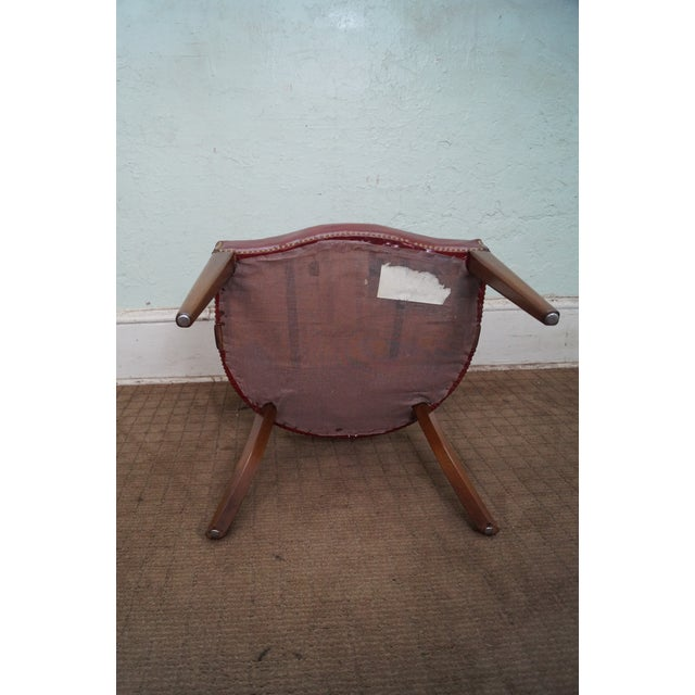 Image of Hickory Chair Solid Mahogany Red Leather Arm Chair