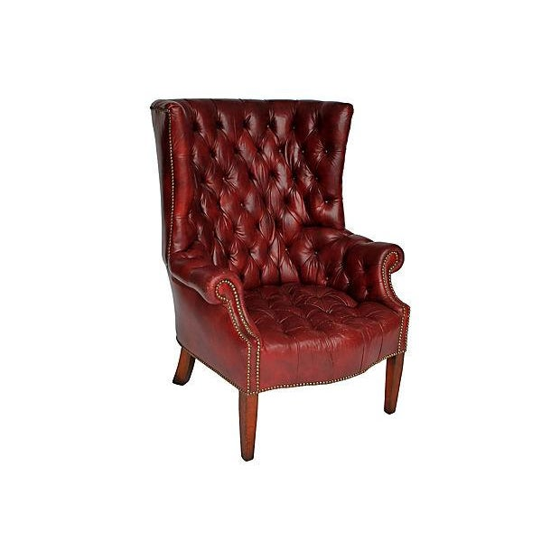 Tufted Leather Wingback Chair - Image 2 of 8