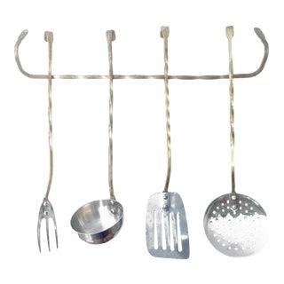 Vintage Brass Kitchen Utensils & Hanging Bar - Set of 5