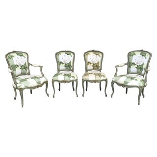 Floral French Louis XV Chairs - Set of 4