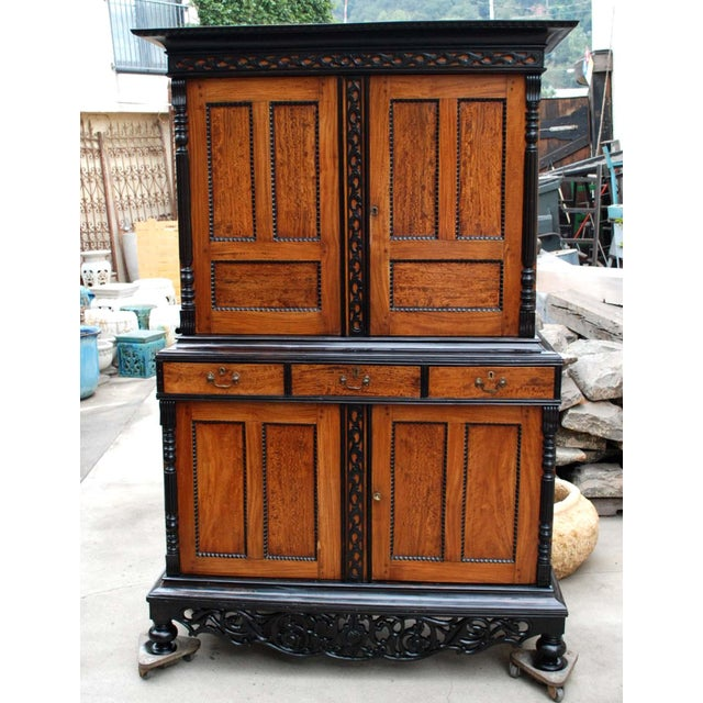 19th c. British Colonial Satin/Ebony 4 Door Cabinet with Carved Moldings - Image 2 of 8