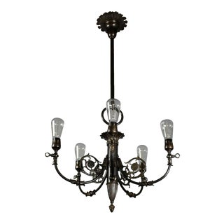Empire Style Brass Converted Gas Fixture (5-Light)