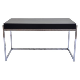 Chrome & Navy Lacquer Desk