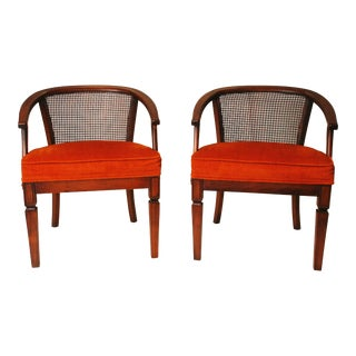 Mid Century Cane Back Upholstered Hollywood Regency Chairs - a Pair