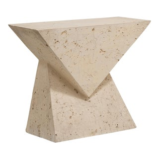 A Geometric Composition Stone Veneered Console Table 1970s